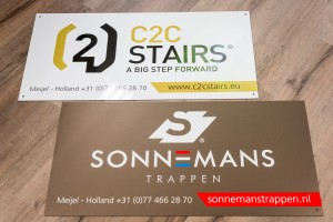 Dubbelzijdige reclameborden - Sonnemans Trappen & C2C Stairs, Meijel