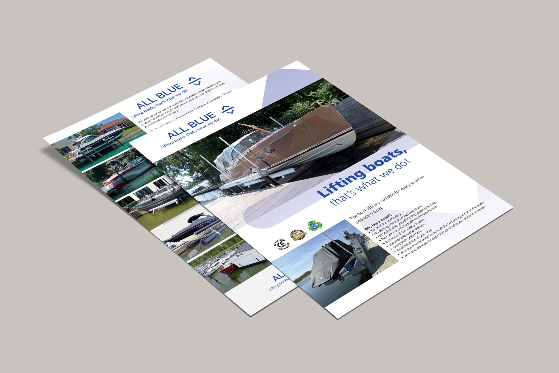 A4 Flyers - All Blue B.V. lifting boats, Ittervoort